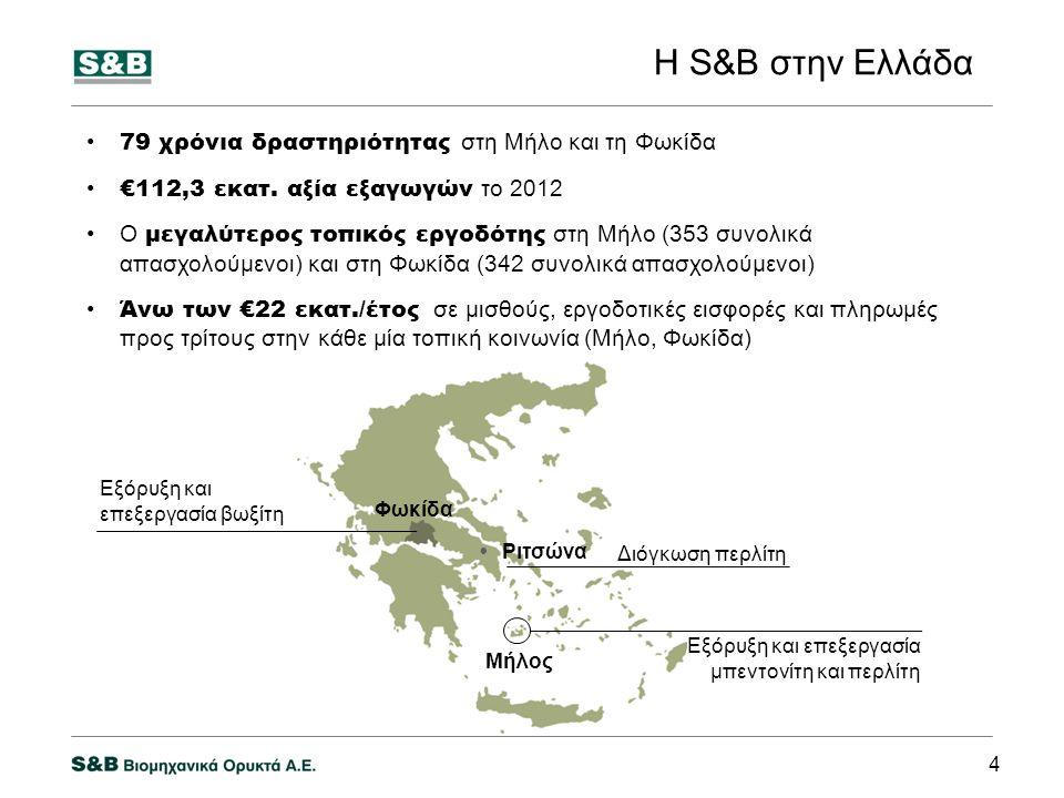Η S&B στην Ελλάδα 79 χρόνια δραστηριότητας στη Μήλο και τη Φωκίδα