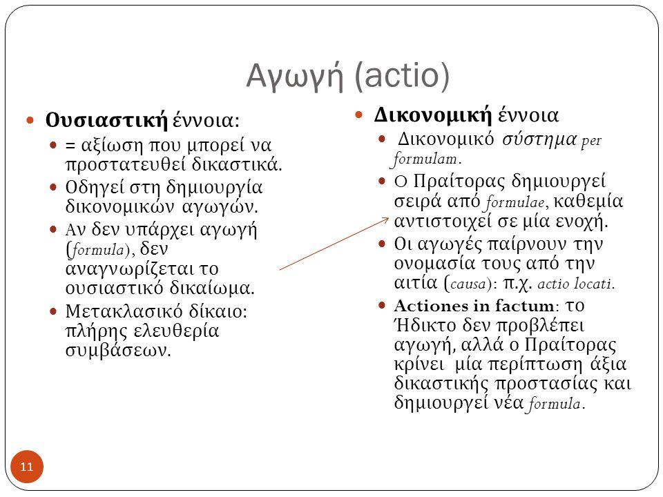 Αγωγή (actio) Δικονομική έννοια Ουσιαστική έννοια: