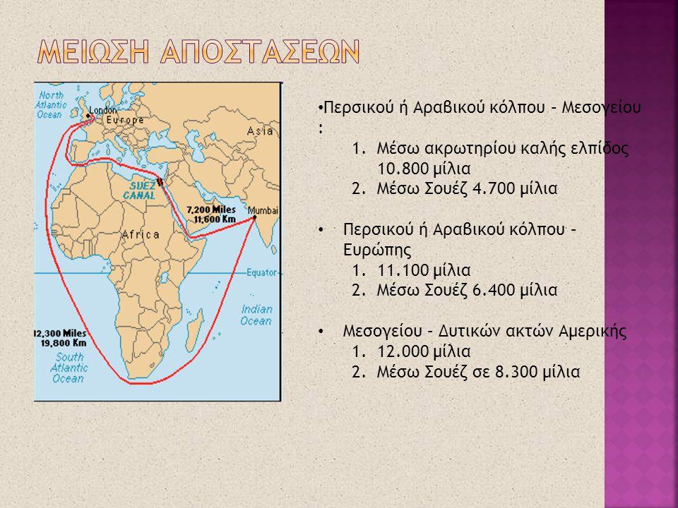 ΜΕΙΩΣΗ ΑΠΟΣΤΑΣΕΩΝ Περσικού ή Αραβικού κόλπου – Μεσογείου :