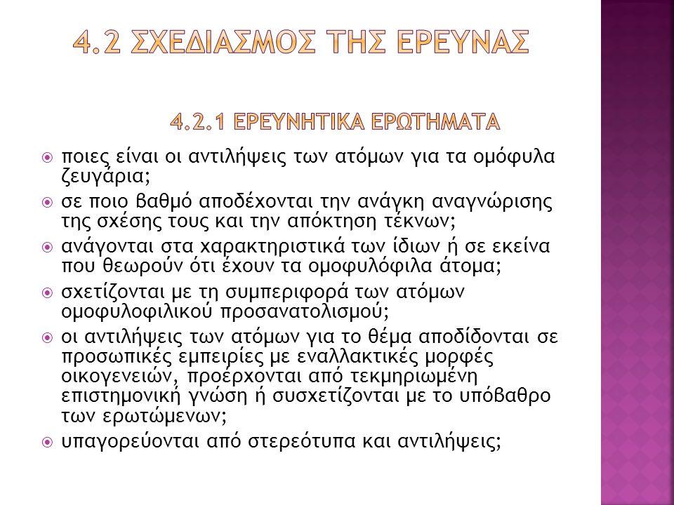 4.2 Σχεδιασμοσ τησ ερευνασ 4.2.1 Ερευνητικα ερωτηματα