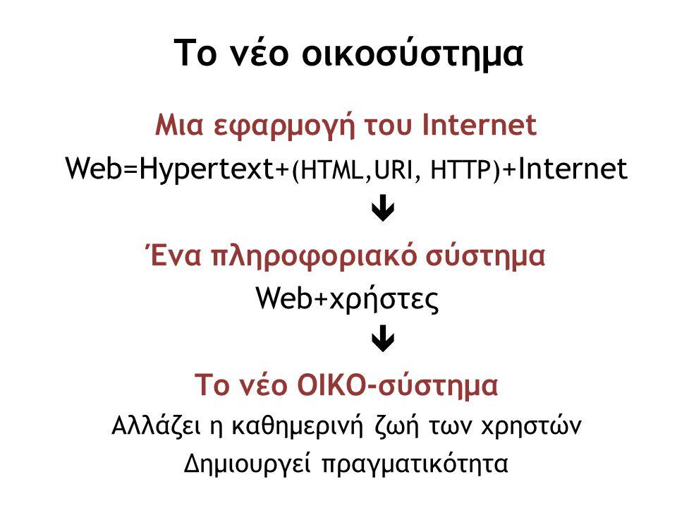 Μια εφαρμογή του Internet Ένα πληροφοριακό σύστημα