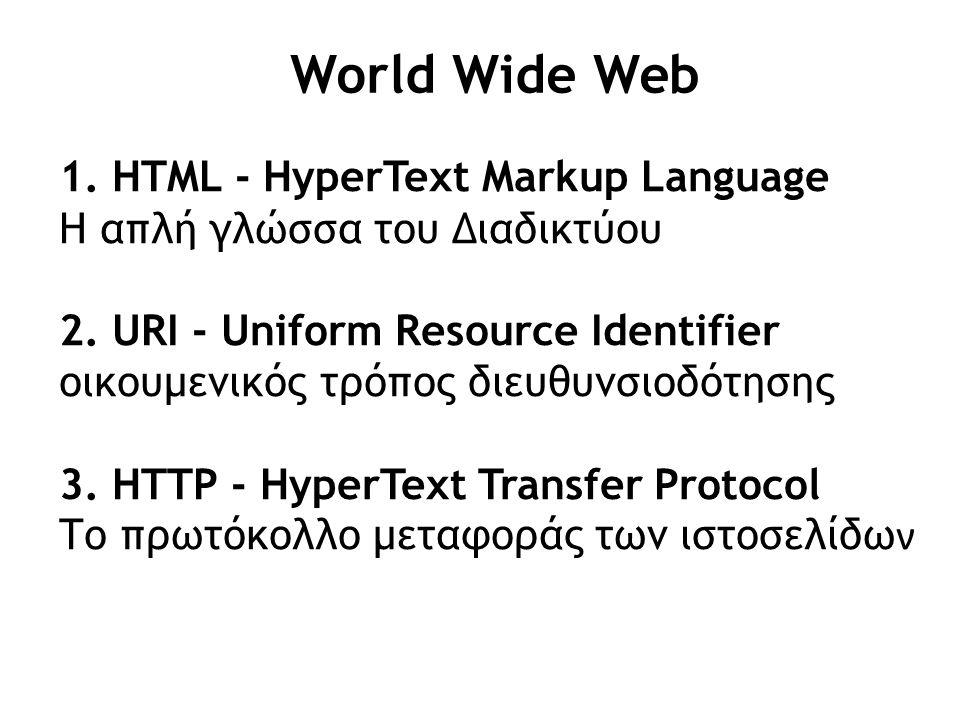 World Wide Web 1. HTML - HyperText Markup Language