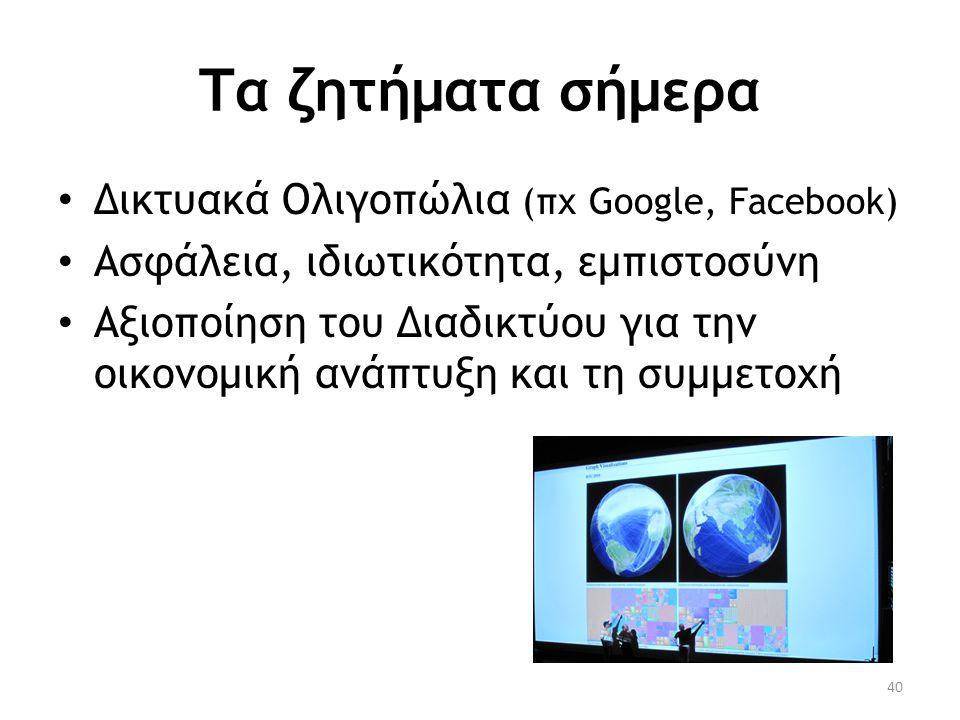 Τα ζητήματα σήμερα Δικτυακά Ολιγοπώλια (πχ Google, Facebook)