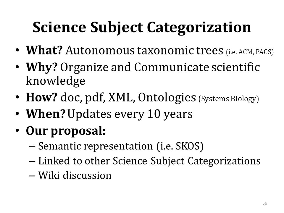 Science Subject Categorization