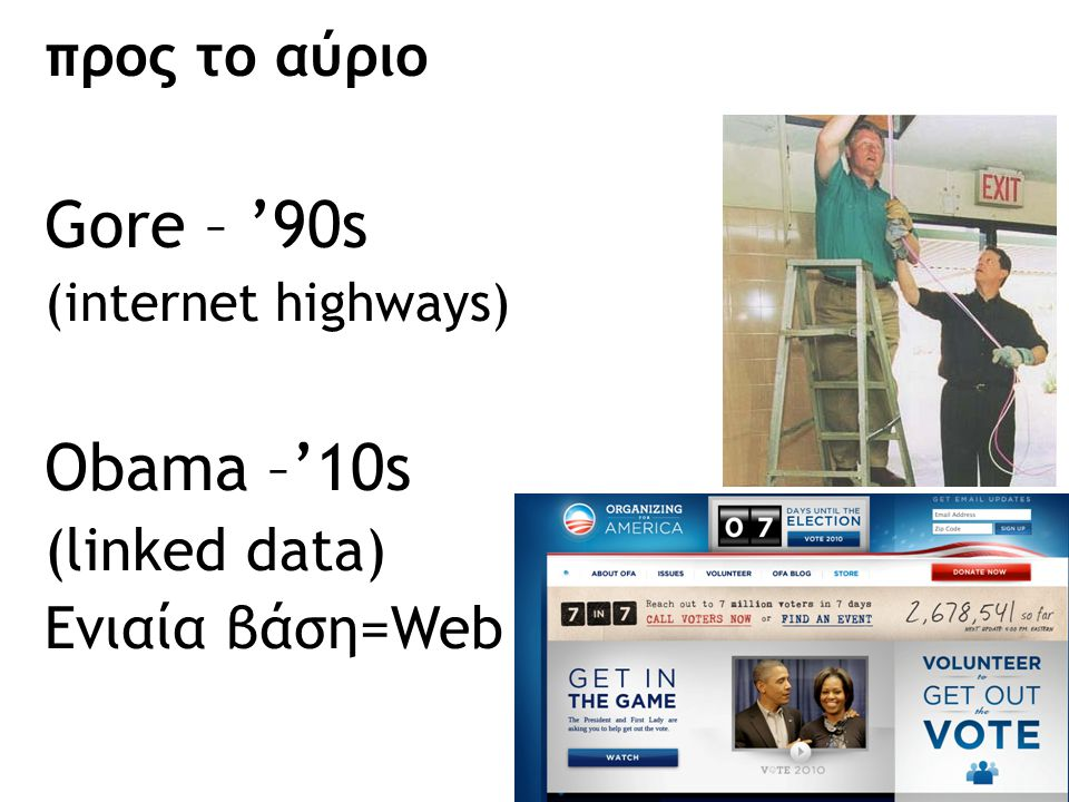 Gore – '90s Obama –'10s προς το αύριο (linked data) Ενιαία βάση=Web