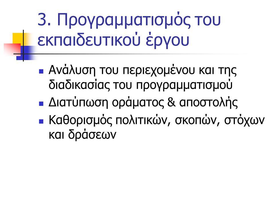 3. Προγραμματισμός του εκπαιδευτικού έργου