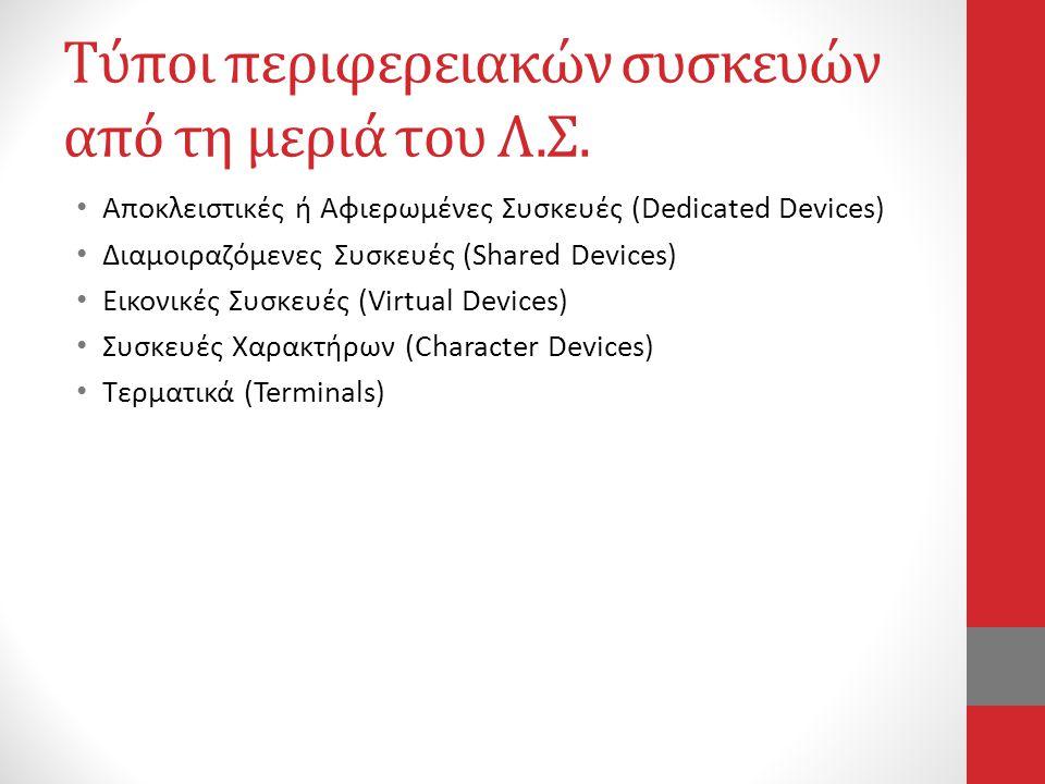 Τύποι περιφερειακών συσκευών από τη μεριά του Λ.Σ.