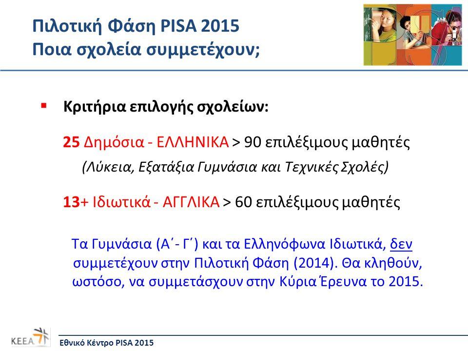 Πιλοτική Φάση PISA 2015 Ποια σχολεία συμμετέχουν;