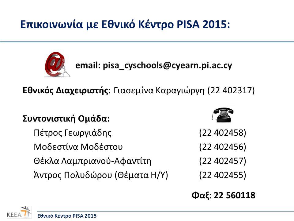 Επικοινωνία με Εθνικό Κέντρο PISA 2015: