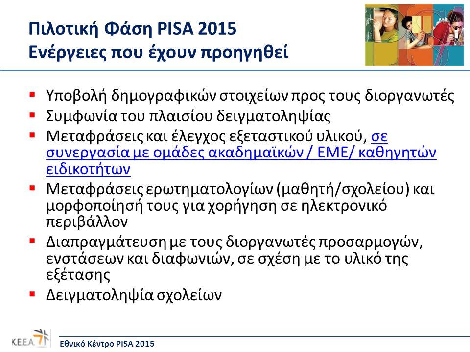Πιλοτική Φάση PISA 2015 Ενέργειες που έχουν προηγηθεί