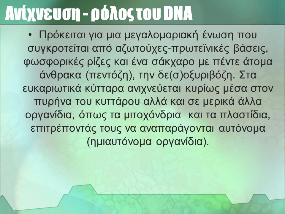 Ανίχνευση - ρόλος του DNA