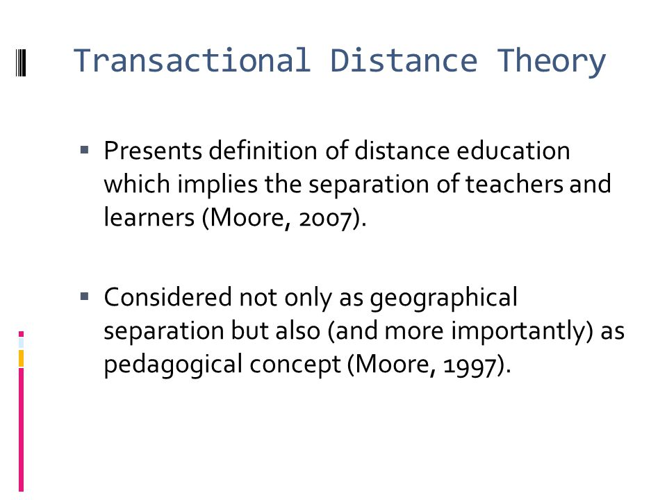 Transactional Distance Theory