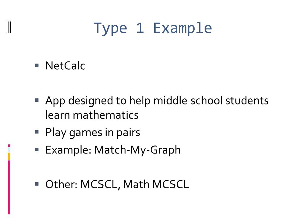 Type 1 Example NetCalc. App designed to help middle school students learn mathematics. Play games in pairs.