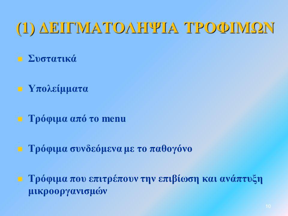 (1) ΔΕΙΓΜΑΤΟΛΗΨΙΑ ΤΡΟΦΙΜΩΝ