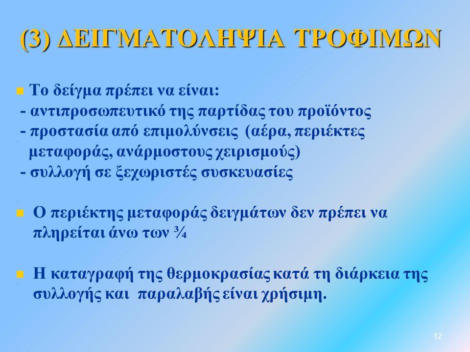 (3) ΔΕΙΓΜΑΤΟΛΗΨΙΑ ΤΡΟΦΙΜΩΝ