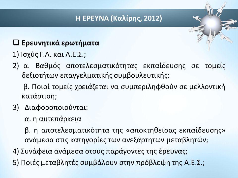 Η ΕΡΕΥΝΑ (Καλίρης, 2012) Ερευνητικά ερωτήματα. 1) Ισχύς Γ.Α. και Α.Ε.Σ.;