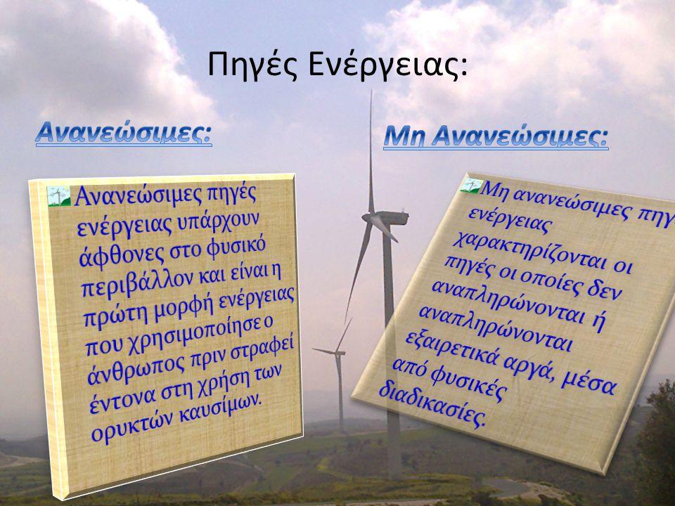 Πηγές Ενέργειας: Ανανεώσιμες: Μη Ανανεώσιμες: