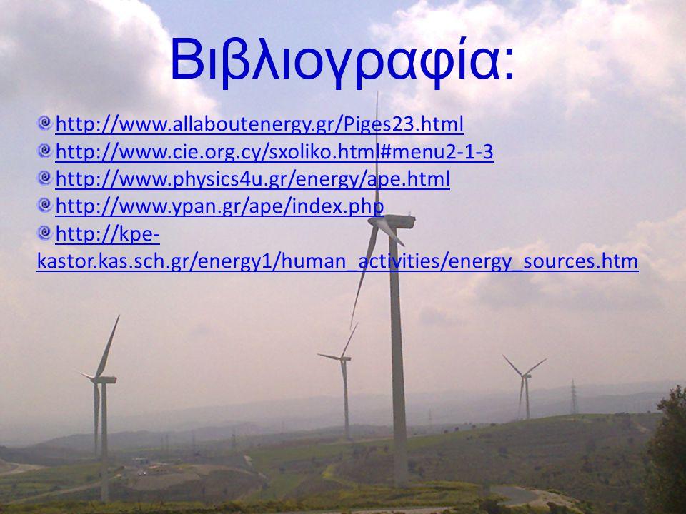 Βιβλιογραφία: http://www.allaboutenergy.gr/Piges23.html
