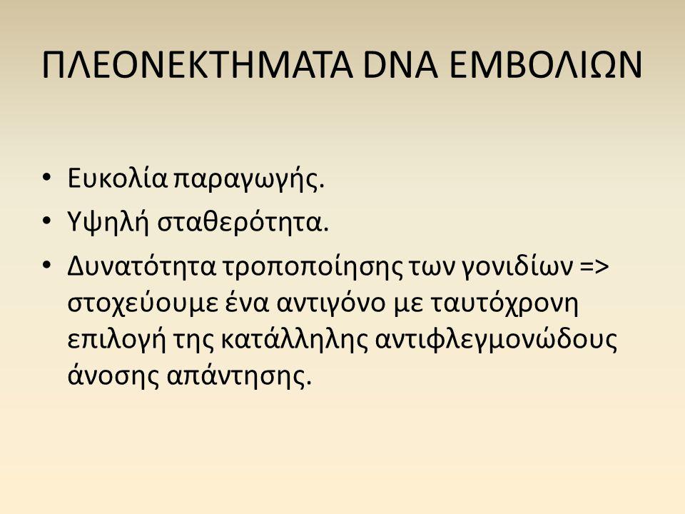 ΠΛΕΟΝΕΚΤΗΜΑΤΑ DNA ΕΜΒΟΛΙΩΝ