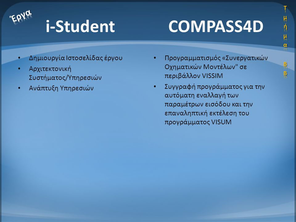 i-Student COMPASS4D Έργα Δημιουργία Ιστοσελίδας έργου