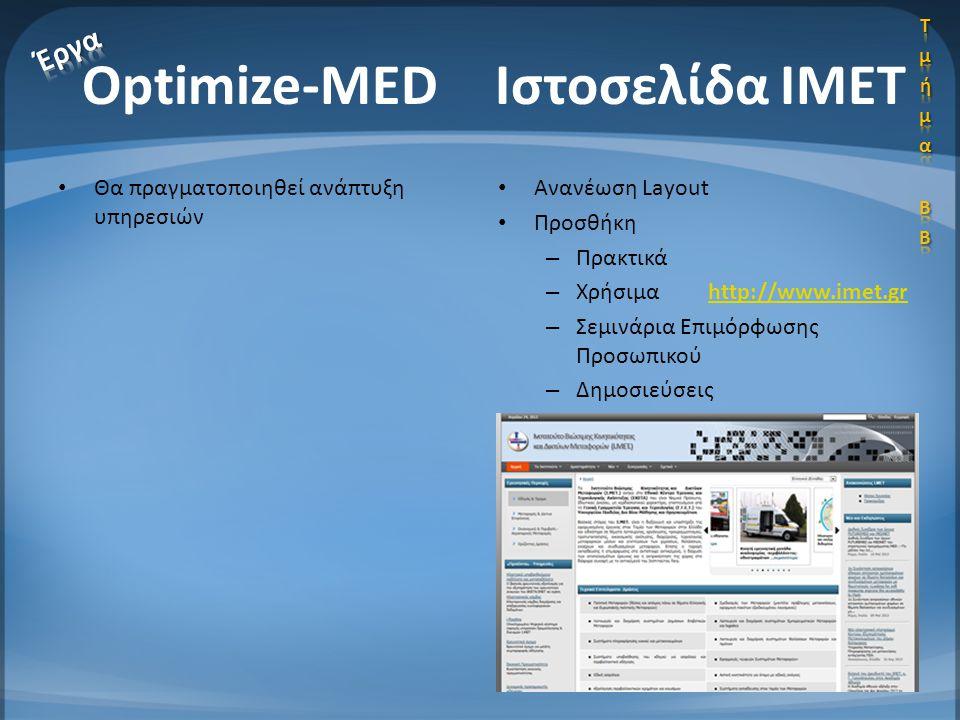 Optimize-MED Ιστοσελίδα ΙΜΕΤ