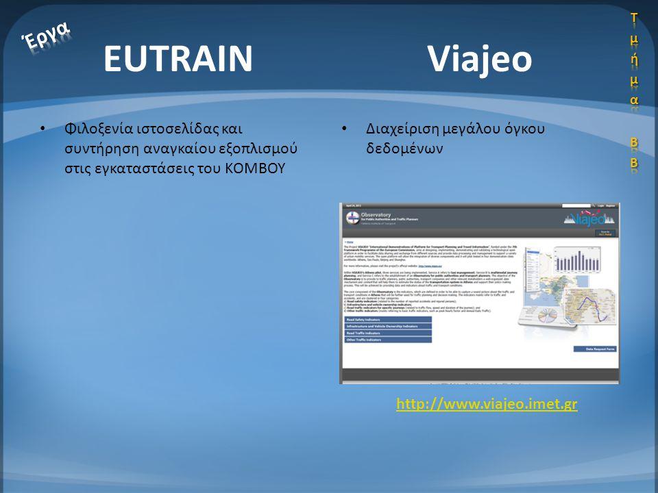 Τμήμα ΒΒ Έργα. EUTRAIN. Viajeo. Φιλοξενία ιστοσελίδας και συντήρηση αναγκαίου εξοπλισμού στις εγκαταστάσεις του ΚΟΜΒΟΥ.