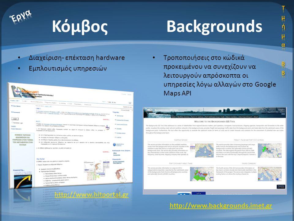 Κόμβος Backgrounds Έργα Διαχείριση- επέκταση hardware