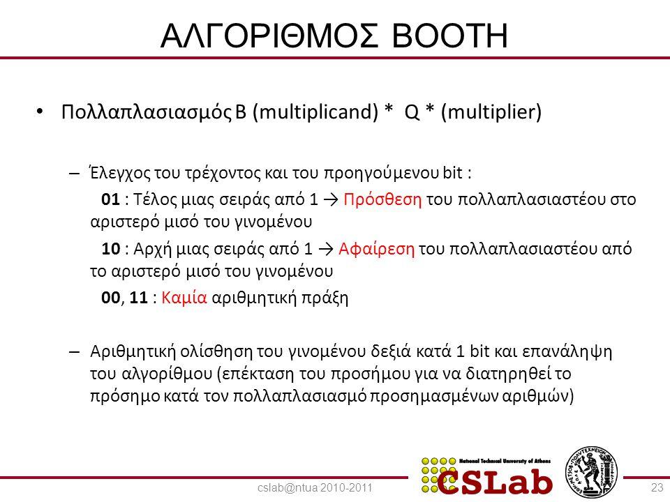ΑΛΓΟΡΙΘΜΟΣ BOOTH Πολλαπλασιασμός Β (multiplicand) * Q * (multiplier)