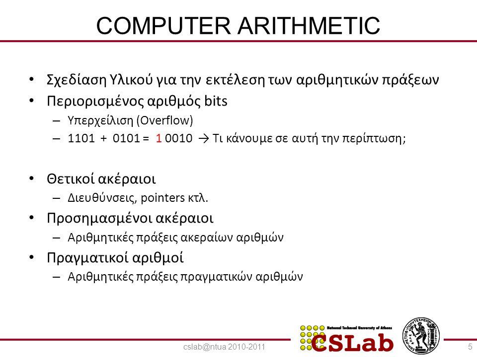 COMPUTER ARITHMETIC Σχεδίαση Υλικού για την εκτέλεση των αριθμητικών πράξεων. Περιορισμένος αριθμός bits.