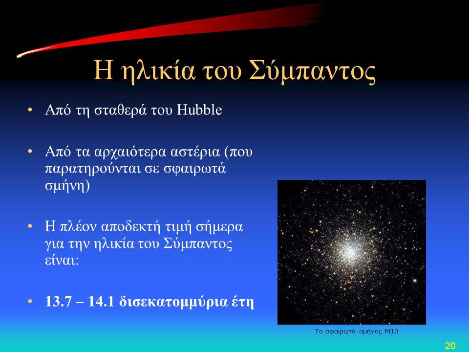 Η ηλικία του Σύμπαντος Από τη σταθερά του Hubble