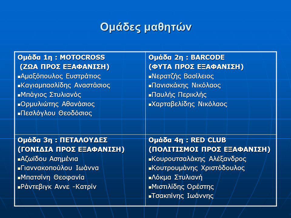 Ομάδες μαθητών Ομάδα 1η : MOTOCROSS (ΖΩΑ ΠΡΟΣ ΕΞΑΦΑΝΙΣΗ)