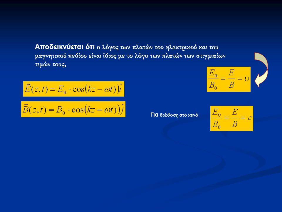 Αποδεικνύεται ότι ο λόγος των πλατών του ηλεκτρικού και του μαγνητικού πεδίου είναι ίδιος με το λόγο των πλατών των στιγμιαίων τιμών τους,