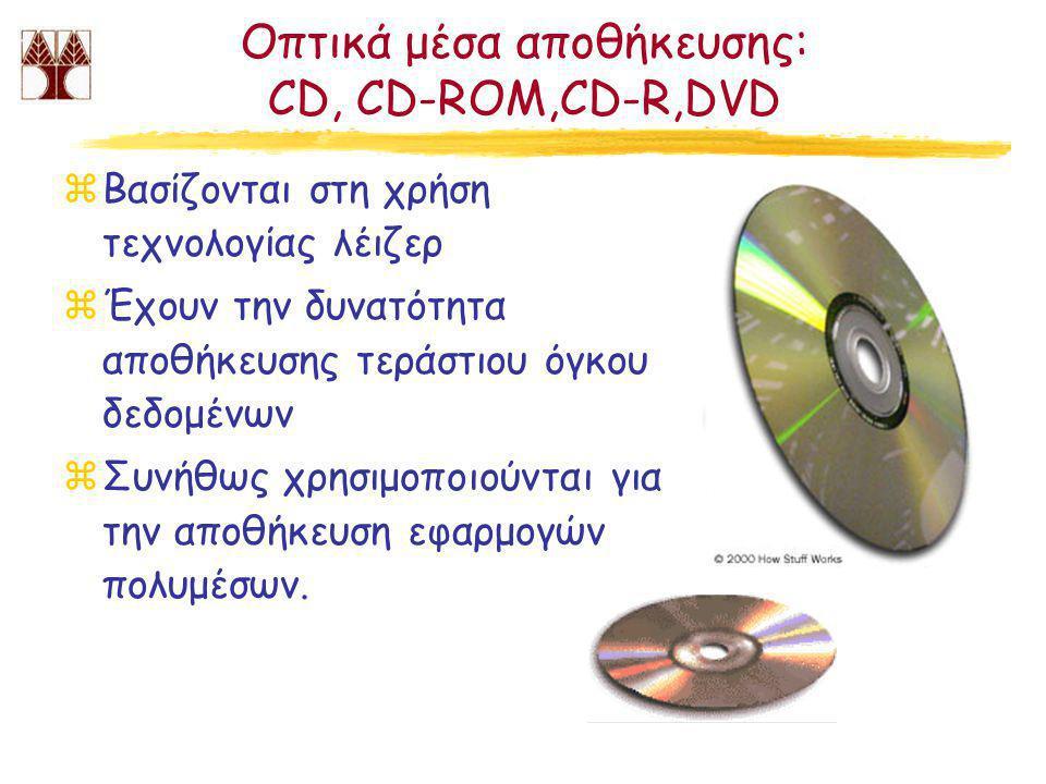 Οπτικά μέσα αποθήκευσης: CD, CD-ROM,CD-R,DVD