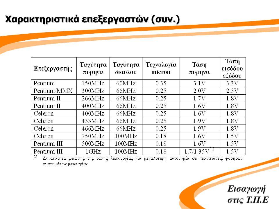 Χαρακτηριστικά επεξεργαστών (συν.)