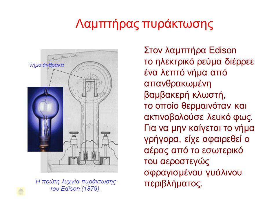 Η πρώτη λυχνία πυράκτωσης του Edison (1879).