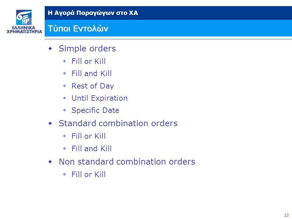 Standard combination orders