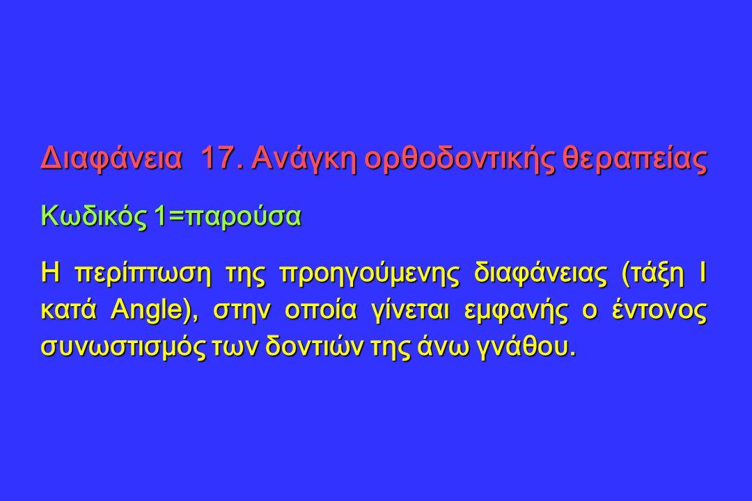 Διαφάνεια 17. Ανάγκη ορθοδοντικής θεραπείας