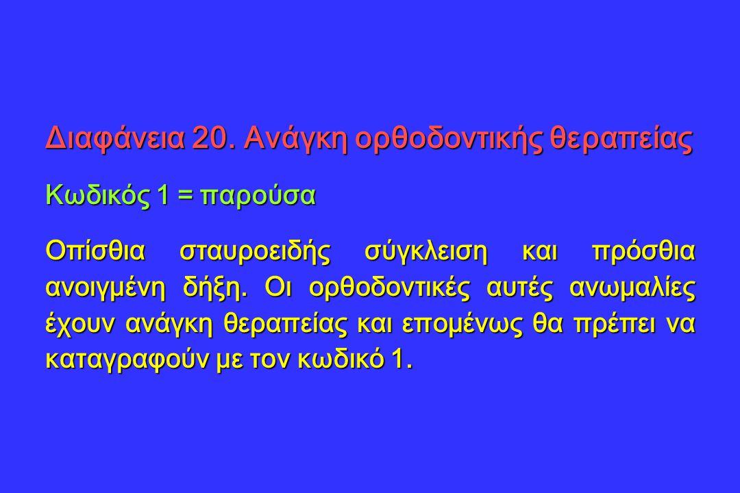 Διαφάνεια 20. Ανάγκη ορθοδοντικής θεραπείας