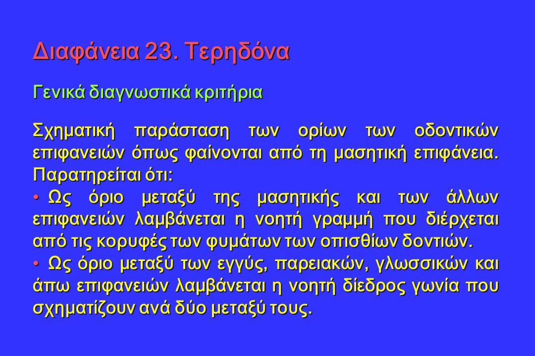 Διαφάνεια 23. Τερηδόνα Γενικά διαγνωστικά κριτήρια