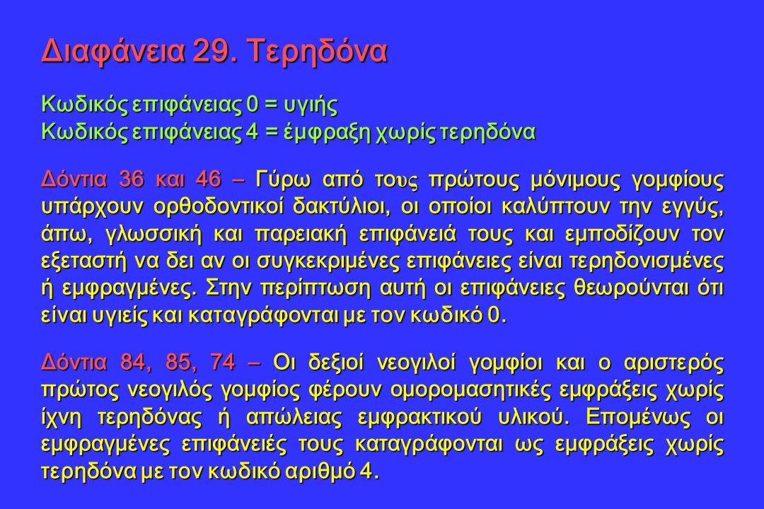 Διαφάνεια 29. Τερηδόνα Κωδικός επιφάνειας 0 = υγιής