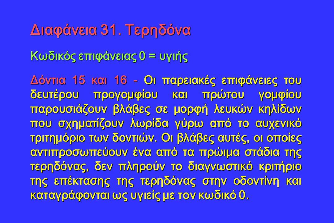 Διαφάνεια 31. Τερηδόνα Κωδικός επιφάνειας 0 = υγιής