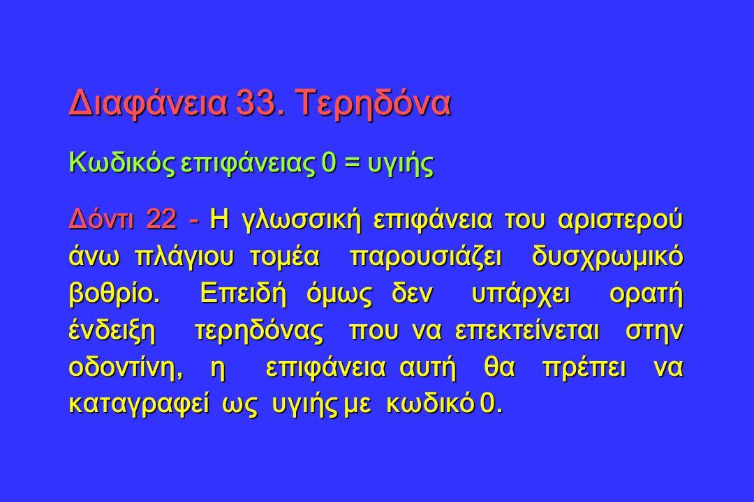 Διαφάνεια 33. Τερηδόνα Κωδικός επιφάνειας 0 = υγιής