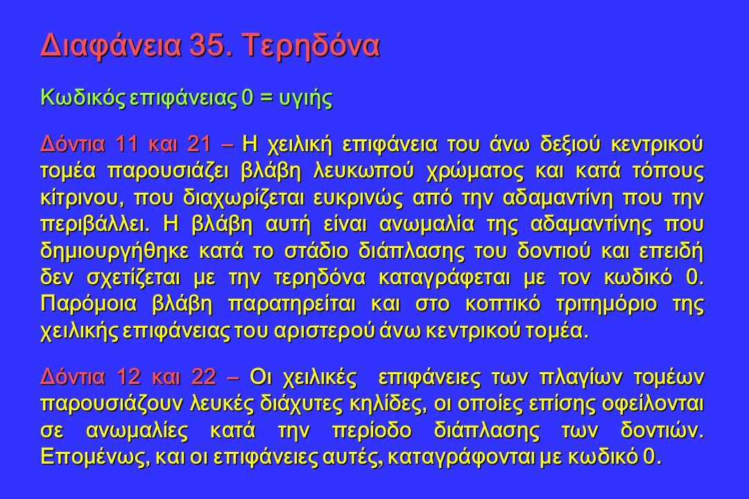 Διαφάνεια 35. Τερηδόνα Κωδικός επιφάνειας 0 = υγιής