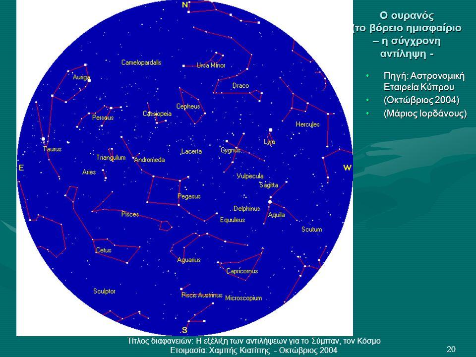 Ο ουρανός (το βόρειο ημισφαίριο – η σύγχρονη αντίληψη -