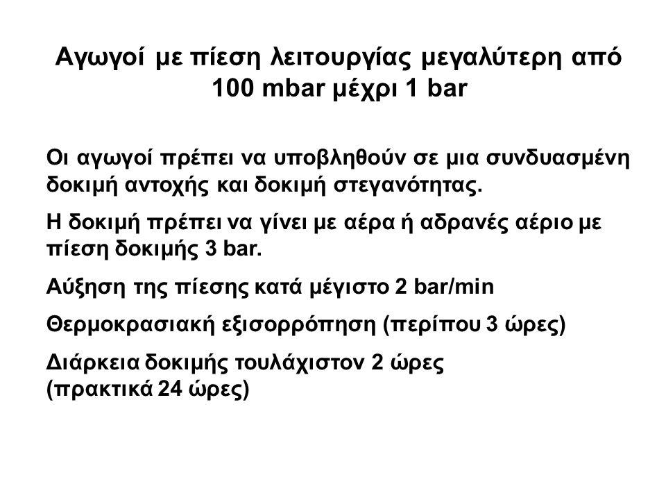 Αγωγοί με πίεση λειτουργίας μεγαλύτερη από 100 mbar μέχρι 1 bar