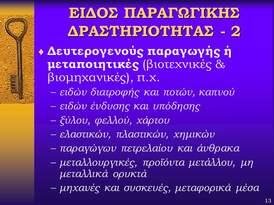 ΕΙΔΟΣ ΠΑΡΑΓΩΓΙΚΗΣ ΔΡΑΣΤΗΡΙΟΤΗΤΑΣ - 2