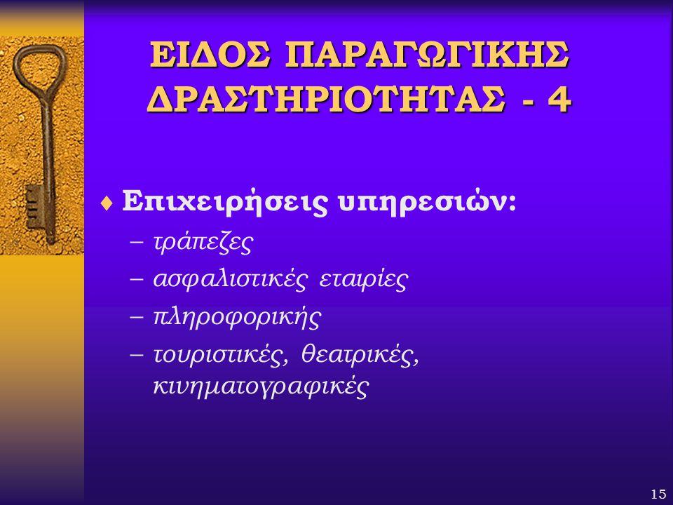 ΕΙΔΟΣ ΠΑΡΑΓΩΓΙΚΗΣ ΔΡΑΣΤΗΡΙΟΤΗΤΑΣ - 4