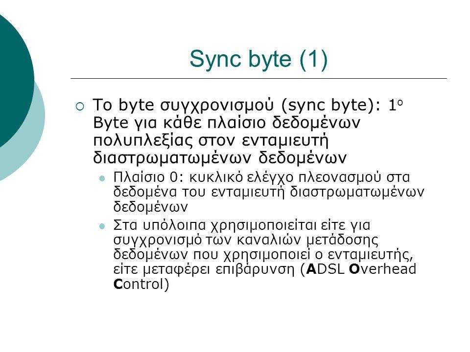 Sync byte (1) Το byte συγχρονισμού (sync byte): 1ο Byte για κάθε πλαίσιο δεδομένων πολυπλεξίας στον ενταμιευτή διαστρωματωμένων δεδομένων.