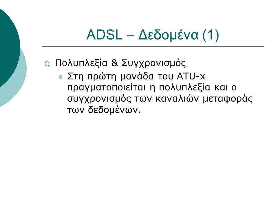 ADSL – Δεδομένα (1) Πολυπλεξία & Συγχρονισμός