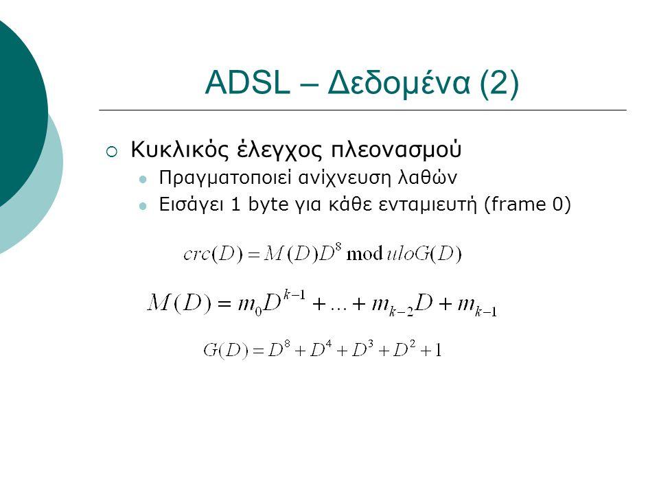 ADSL – Δεδομένα (2) Κυκλικός έλεγχος πλεονασμού